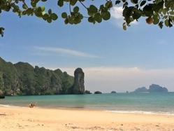 Ao Nang Beach in Krabi, Thailand during green season