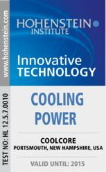 """Innovative Technology"" badge for Coolcore awarded by Hohenstein Institute, the leader in textile testing since 1946."