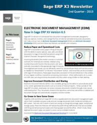 Sage ERP X3 Newsletter Q2 2013
