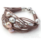 11-12mm Multi Color Freshwater Pearl Brown Leather Bracelet with Magnetic Clasp