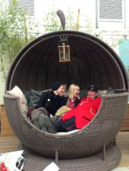 Dave Thompson enjoying The Apple Day Bed at Chelsea Flower Show this year.