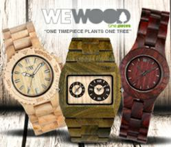 Photo of three WeWOOD watches with the mention NEW.