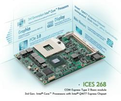 ICES 268 COM Express™ Type 2, Basic Module with QM77 Intel® 3rd Generation Intel® Core™ rPGA988 Embedded Processors Family