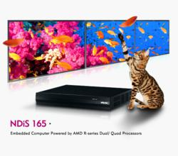 NDiS 165 player is a powerful digital signage player which is built around the superb technology of AMD embedded R-Series APU family. The digital signage player can offer impressive system performance and full HD videos. With support for smooth 1080P vide