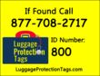 Example of Luggage Protection Tags label that's included with membership