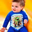 Robot Boy organic cotton rib romper
