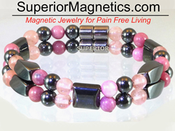 Magnetic Bracelet with Rhodonite and Rose Quartz
