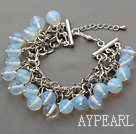 White Series 10mm Round Opal Crystal Bracelet with Metal Chain