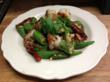 Stir-fried shrimp and okra with a spicy kick of Sichuan peppercorn
