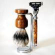 Goat Milk Stuff offers custom shaving brush badger hair bristles and matching razor in exotic woods
