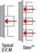 This shows the Talon three piston caliper vs. the original single piston version.