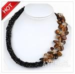 Black Crystal and Tiger Eye Flower Necklace