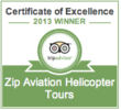 Zip Aviation Earns 2013 Tripadvisor Certificate Of Excellence