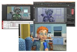 Image showing the initial panel in Redboard, the layout in Maya and an early animation and lighting test