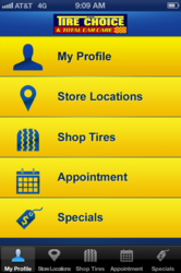 The Tire Choice iPhone app main menu