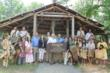 Cherokee Nation and Cherokee Heritage Center officials celebrate the opening of Diligwa, the Cherokee Heritage Center's new village that depicts Cherokee life in 1710.