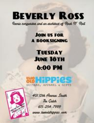 Iconic Songwriter, Beverly Ross book signing in Nashville at Two Old Hippies