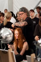 Dennis Clendennon, AVEDA hair stylist, backstage at New York Fashion Week.