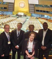 At the UN Headquarters in New York, the IYOL was presented by Ana María Cetto and (back row from left) Philip Stahl, John Dudley, Anthony Johnson, and Yanne Chembo Kouomou.
