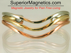 Magnetic Bracelet with Silver, Copper and Brass