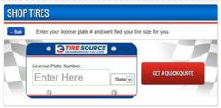 Shop tires by license plate number