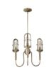 The new three-light Urban Renewal chandelier by Feiss shown here with its adjustable arms in the upward position