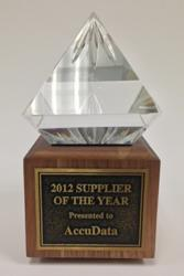 AccuData's 2012 Supplier of the Year Award