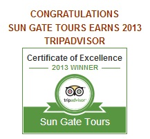 SUN GATE TOURS EARNS 2013 TRIPADVISOR