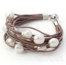11-12mm Natural White Freshwater Pearl Brown Leather Bracelet with Magnetic Clasp