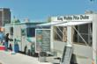 Food trucks outside the Traverse City post office.