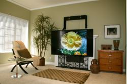 A photo of the ComfortVu fireplace TV mount - ready to watch!