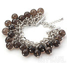 Brown Series 10mm Round Smoky Quartz Bracelet with Metal Chain
