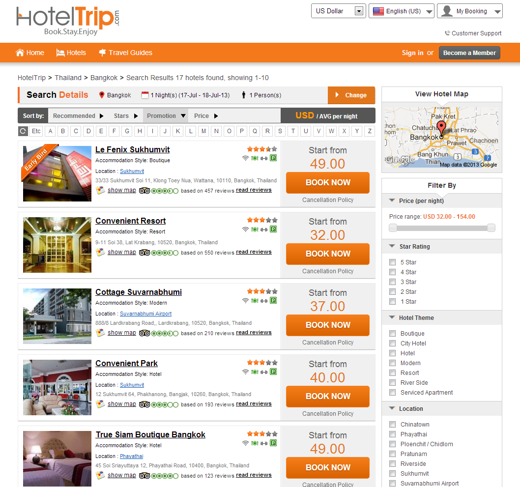Hoteltrip com provides online users with easy booking decisions