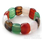 Assorted Fillet Square Shape Multi Color Agate Stretch Bangle Bracelet