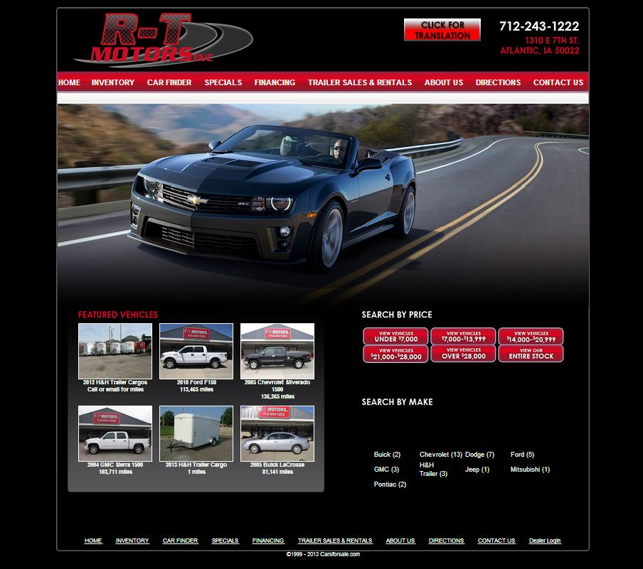 R t motors inc of atlantic iowa teams up with carsforsale for Law motors sioux falls sd