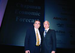 Esmael Adibi (left) and James L. Doti will present the Chapman University Economic Forecast Update on Wednesday, June 12, 8:30 a.m. in Segerstrom Concert Hall, Costa Mesa, Calif.