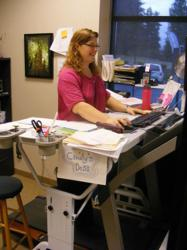 Walking while working with a TrekDesk Treadmill Desk