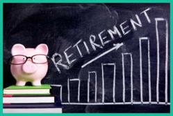 photograph of retirement with piggy bank wearing glasses