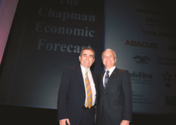 Esmael Adibi (left) and James L. Doti will present the Chapman University Economic Forecast Update on Thursday, June 19, 8:30 a.m. in Segerstrom Concert Hall, Costa Mesa, Calif.