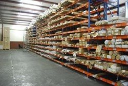 Racks of trim inventory from Calhoun