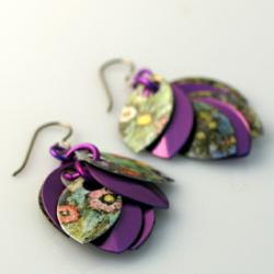 Purple Posies Earrings by Diana Ferguson Jewelry
