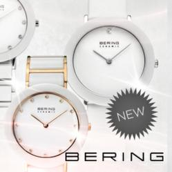 Photo of three bering watches with the mention new and Bering logo