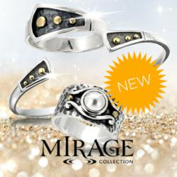 Photo of one Mirage Sterling Silver Bracelet with two Mirage Sterling Silver Rings with Mirage Jewelry logo and mention NEW