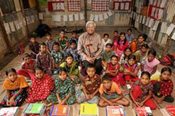 Sir Fazle Hasan Abed, founder and chairperson of BRAC, at a BRAC primary school in Dhaka's Korial slum.