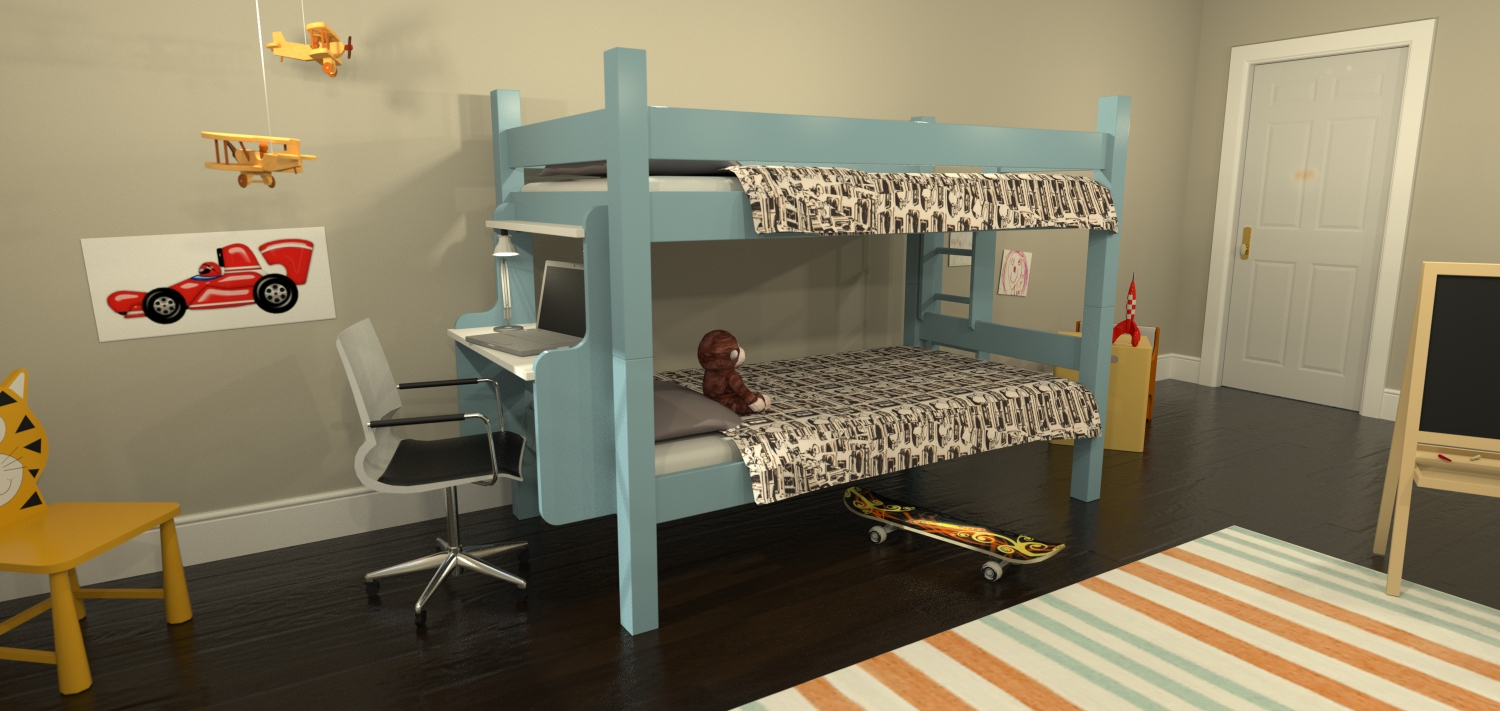 Maine bunk beds launches new website for eco friendly and for Modern bunk bed with desk