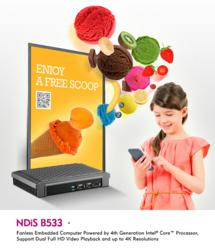 NDiS B533 - Fanless Embedded Computer Powered by 4th Generation Intel® Core™ Processor, Support Dual Full HD Video Playback and up to 4K Resolutions