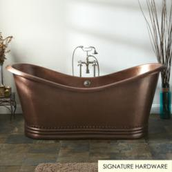 "72"" Paige Bateau Double Slipper Hammered Copper Tub"
