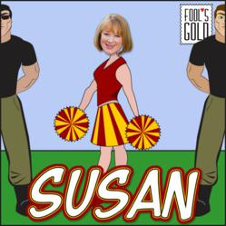 Author Susan Mallery as a cartoon cheerleader, guarded by two bodyguards