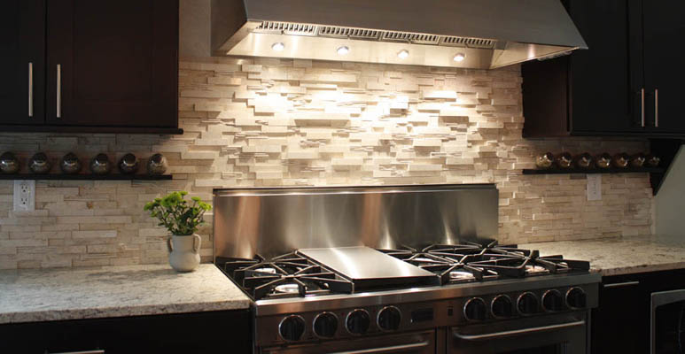 of your kitchen would look great with a beige natural stone backsplash