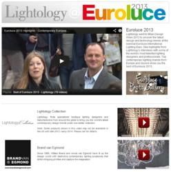 A snapshot of the Lightology Euroluce page reveals a library of contemporary lighting videos